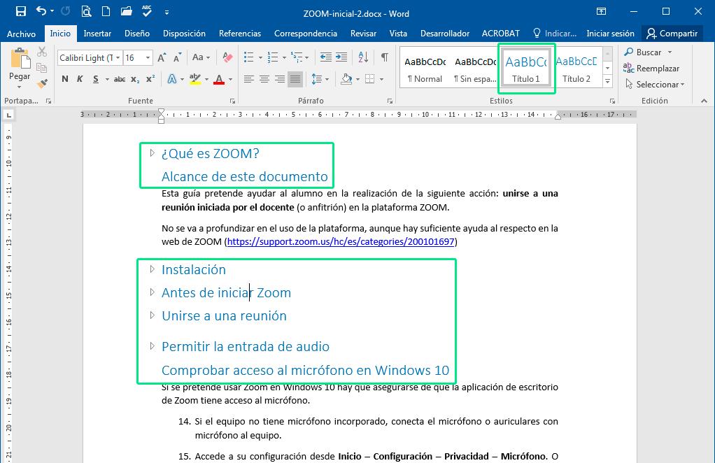 Estilos de título para un índice de Word
