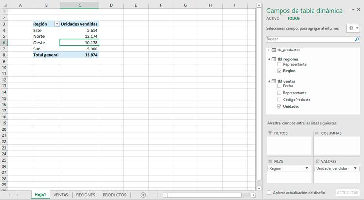 Tabla dinámica de tablas de regiones y ventas